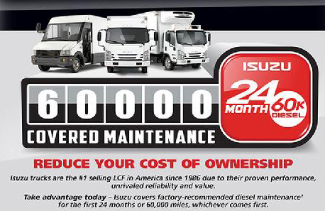Isuzu 60,000 Miles or 24 Month Covered Maintenance